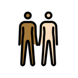 People Holding Hands: Medium-Dark Skin Tone, Light Skin Tone on OpenMoji 12.0