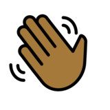 Waving Hand: Medium-Dark Skin Tone on OpenMoji 12.0