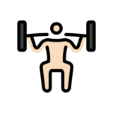 Person Lifting Weights: Light Skin Tone on OpenMoji 12.0