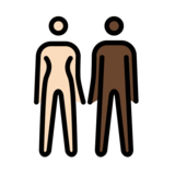 Woman and Man Holding Hands: Light Skin Tone, Dark Skin Tone on OpenMoji 12.0