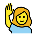 Woman Raising Hand on OpenMoji 12.0