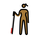 Woman with White Cane: Medium-Dark Skin Tone on OpenMoji 12.0