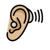 Ear with Hearing Aid: Medium-Light Skin Tone on OpenMoji 12.2