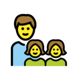 Family: Man, Girl, Girl on OpenMoji 12.2