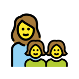 Family: Woman, Girl, Girl on OpenMoji 12.2
