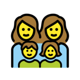 Family: Woman, Woman, Girl, Boy on OpenMoji 12.2