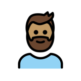 Person: Medium Skin Tone, Beard on OpenMoji 12.2