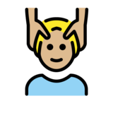 Man Getting Massage: Medium-Light Skin Tone on OpenMoji 12.2