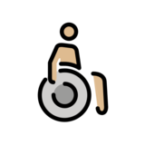 Man in Manual Wheelchair: Medium-Light Skin Tone on OpenMoji 12.2
