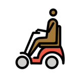Man in Motorized Wheelchair: Medium-Dark Skin Tone on OpenMoji 12.2