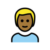 Man: Medium-Dark Skin Tone, Blond Hair on OpenMoji 12.2