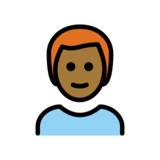 Man: Medium-Dark Skin Tone, Red Hair on OpenMoji 12.2