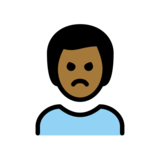 Man Pouting: Medium-Dark Skin Tone on OpenMoji 12.2