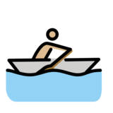 Man Rowing Boat: Medium-Light Skin Tone on OpenMoji 12.2