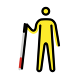 Man with White Cane on OpenMoji 12.2