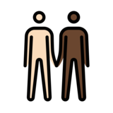 Men Holding Hands: Light Skin Tone, Dark Skin Tone on OpenMoji 12.2