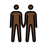 Men Holding Hands: Dark Skin Tone on OpenMoji 12.2