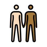 People Holding Hands: Light Skin Tone, Medium-Dark Skin Tone on OpenMoji 12.2