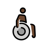 Person in Manual Wheelchair: Dark Skin Tone on OpenMoji 12.2