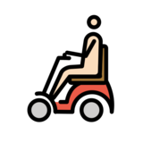 Person in Motorized Wheelchair: Light Skin Tone on OpenMoji 12.2