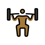 Person Lifting Weights: Medium-Dark Skin Tone on OpenMoji 12.2