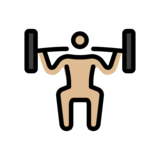 Person Lifting Weights: Medium-Light Skin Tone on OpenMoji 12.2