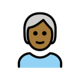 Person: Medium-Dark Skin Tone, White Hair on OpenMoji 12.2