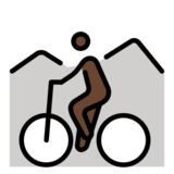 Person Mountain Biking: Dark Skin Tone on OpenMoji 12.2