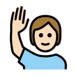 Person Raising Hand: Light Skin Tone on OpenMoji 12.2