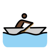 Person Rowing Boat: Dark Skin Tone on OpenMoji 12.2