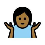 Person Shrugging: Medium-Dark Skin Tone on OpenMoji 12.2