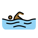 Person Swimming: Medium-Dark Skin Tone on OpenMoji 12.2