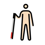 Person with White Cane: Light Skin Tone on OpenMoji 12.2