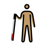 Person with White Cane: Medium Skin Tone on OpenMoji 12.2