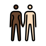 Woman and Man Holding Hands: Dark Skin Tone, Light Skin Tone on OpenMoji 12.2