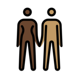 Woman and Man Holding Hands: Dark Skin Tone, Medium Skin Tone on OpenMoji 12.2