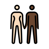 Woman and Man Holding Hands: Light Skin Tone, Dark Skin Tone on OpenMoji 12.2