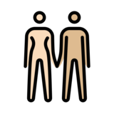 Woman and Man Holding Hands: Light Skin Tone, Medium-Light Skin Tone on OpenMoji 12.2
