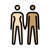 Woman and Man Holding Hands: Light Skin Tone, Medium Skin Tone on OpenMoji 12.2