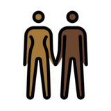 Woman and Man Holding Hands: Medium-Dark Skin Tone, Dark Skin Tone on OpenMoji 12.2