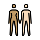 Woman and Man Holding Hands: Medium Skin Tone, Light Skin Tone on OpenMoji 12.2