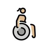 Woman in Manual Wheelchair: Medium-Light Skin Tone on OpenMoji 12.2