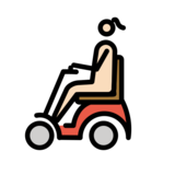 Woman in Motorized Wheelchair: Light Skin Tone on OpenMoji 12.2