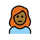 Woman: Medium-Dark Skin Tone, Red Hair on OpenMoji 12.2