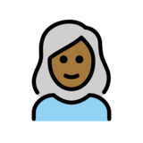 Woman: Medium-Dark Skin Tone, White Hair on OpenMoji 12.2