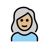 Woman: Medium-Light Skin Tone, White Hair on OpenMoji 12.2