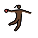 Woman Playing Handball: Dark Skin Tone on OpenMoji 12.2