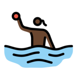 Woman Playing Water Polo: Dark Skin Tone on OpenMoji 12.2