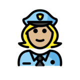 Woman Police Officer: Medium-Light Skin Tone on OpenMoji 12.2