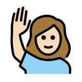 Woman Raising Hand: Light Skin Tone on OpenMoji 12.2